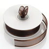 "25 Yards 7/8"" Chocolate Organza Ribbon with Satin Edge"