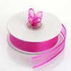 "25 Yards 7/8"" Fushia Organza Ribbon with Satin Edge#whtbkgd"