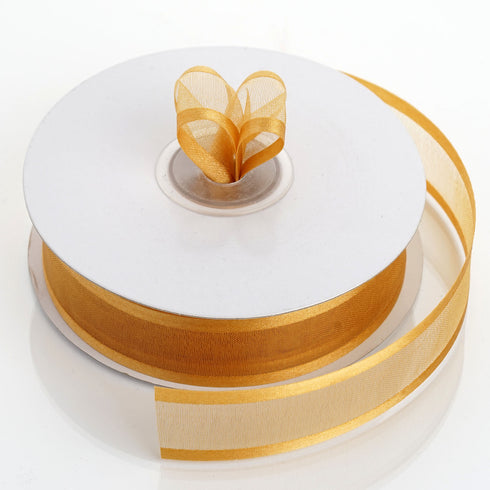 "25 Yards 7/8"" Gold Organza Ribbon with Satin Edge"