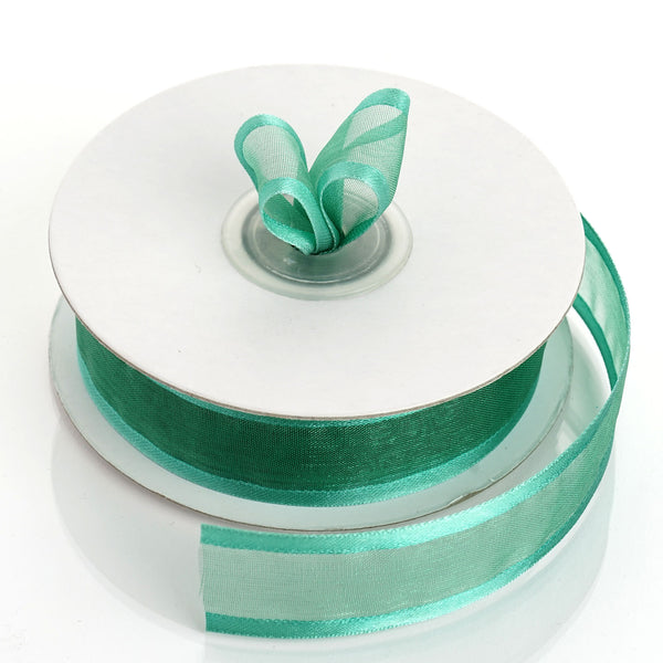 "25 Yards | 7/8"" DIY Hunter Emerald Green Organza Ribbon With Satin Edge"
