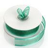 "25 Yards | 7/8"" DIY Hunter Emerald Green Organza Ribbon With Satin Edge#whtbkgd"