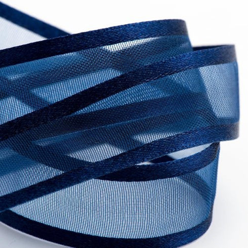 "25 Yards 7/8"" Navy Blue Organza Ribbon with Satin Edge"