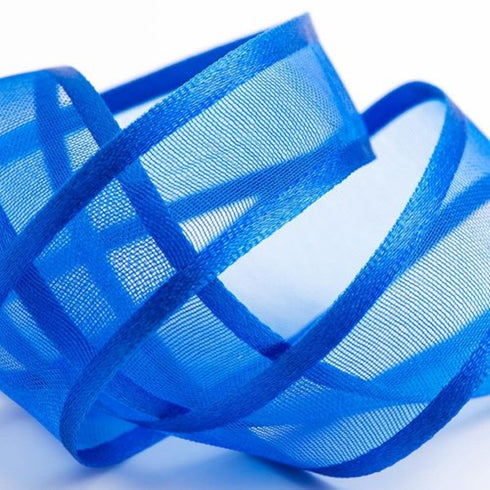 "25 Yards | 7/8"" DIY Royal Blue Organza Ribbon With Satin Edge"