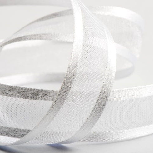 "25 Yards 7/8"" White Organza Ribbon with Satin Edge"