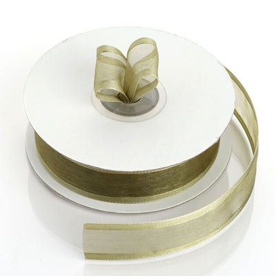 "25 Yards 7/8"" Moss/Willow Organza Ribbon with Satin Edge"
