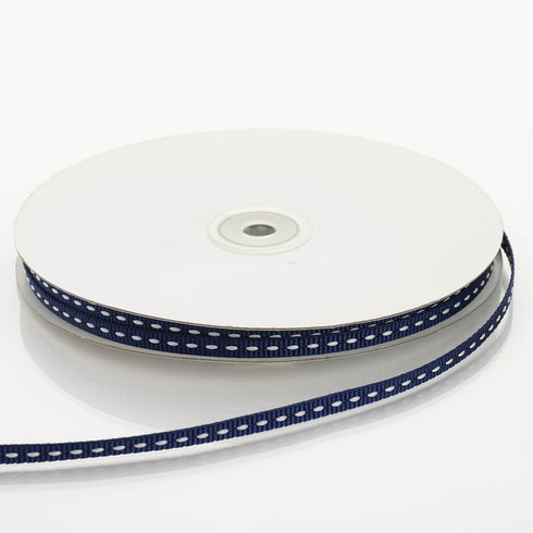 "25 Yard 1/4"" Navy Blue Stitched Ribbon"