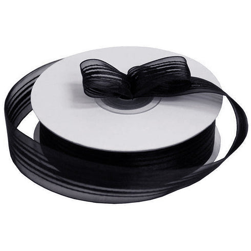 "25 Yard 7/8"" DIY Black Organza Ribbon With Satin Stripes For Craft Dress Wedding"