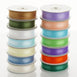 "25 Yards 7/8"" Hunter Green Organza Ribbon with Satin Stripes"