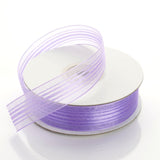 "25 Yards 7/8"" Lavender Organza Ribbon with Satin Stripes"