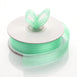 "25 Yards 7/8"" Mint Green Organza Ribbon with Satin Stripes"