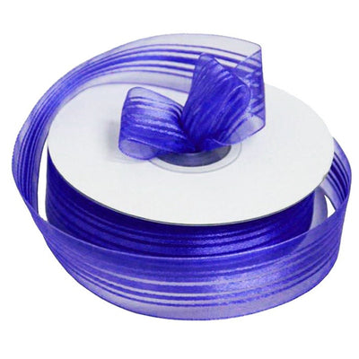 "7/8"" Organza Ribbon With Satin Stripes - Purple - 25 Yard"