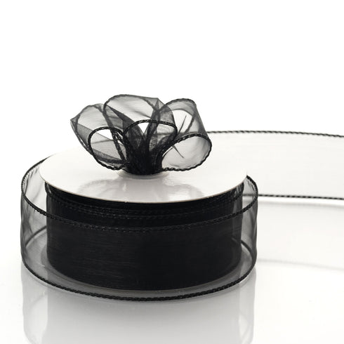 "10 Yards 1.5"" Black Organza Wired Edge Ribbon"