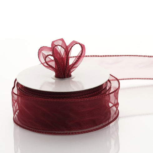 "10 Yards 1.5"" Burgundy Organza Wired Edge Ribbon"
