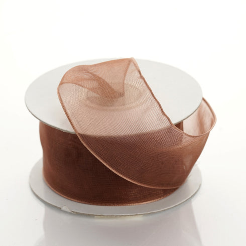 "10 Yards 1.5"" Chocolate Organza Wired Edge Ribbon"