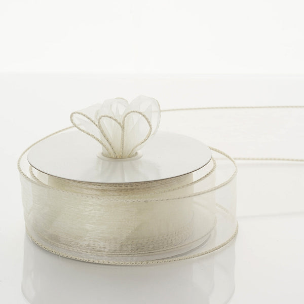 "10 Yards 1.5"" Ivory Organza Wired Edge Ribbon"