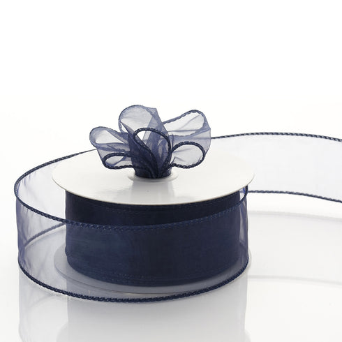 "10 Yards 1.5"" Navy Blue Organza Wired Edge Ribbon"