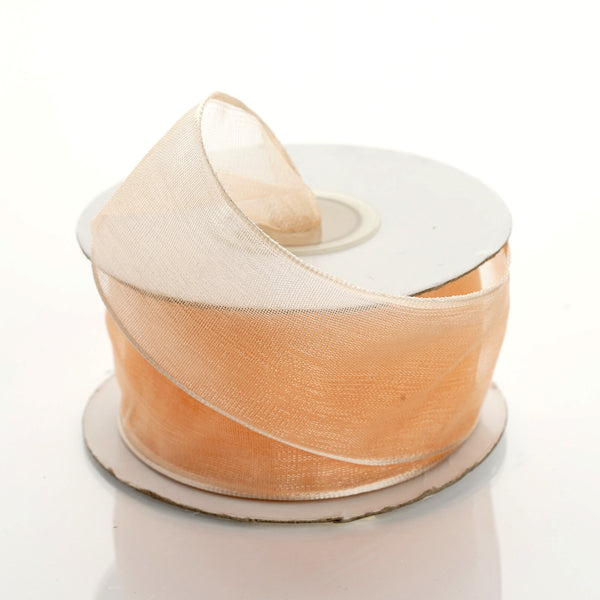 "10 Yards 1.5"" Peach Organza Wired Edge Ribbon"