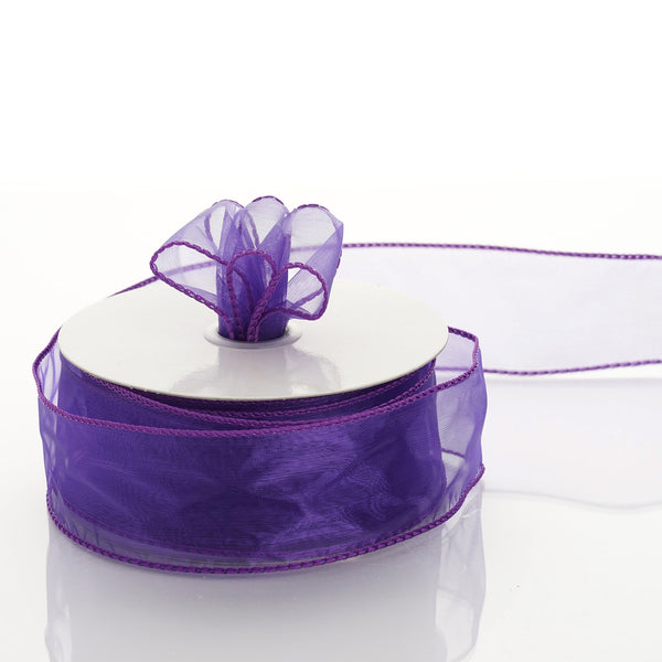 "10 Yards 1.5"" Purple Organza Wired Edge Ribbon"