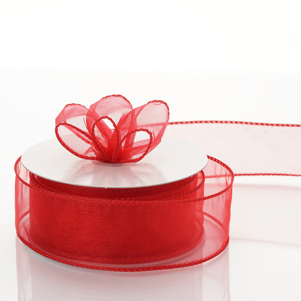 "10 Yards 1.5"" Red Organza Wired Edge Ribbon"