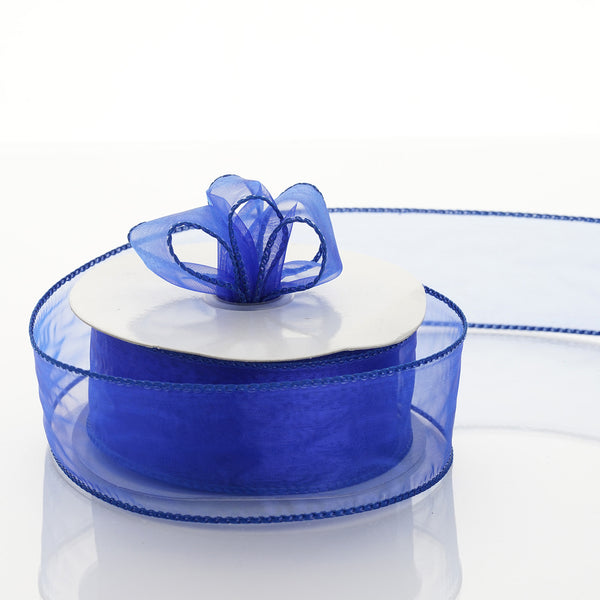 "10 Yards 1.5"" Royal Blue Organza Wired Edge Ribbon"