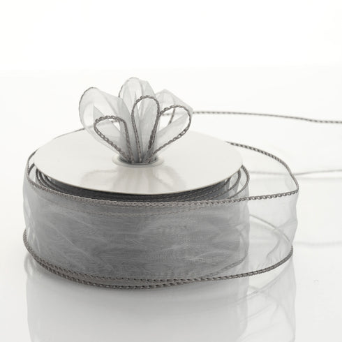 "10 Yards 1.5"" Silver Organza Wired Edge Ribbon"