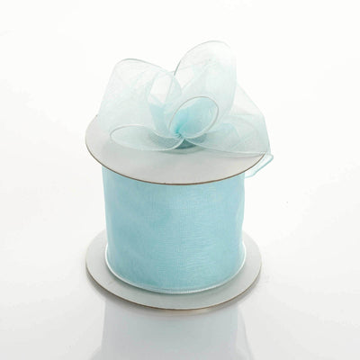 "10 Yards 2.5"" Baby Blue Organza Wired Edge Ribbon"