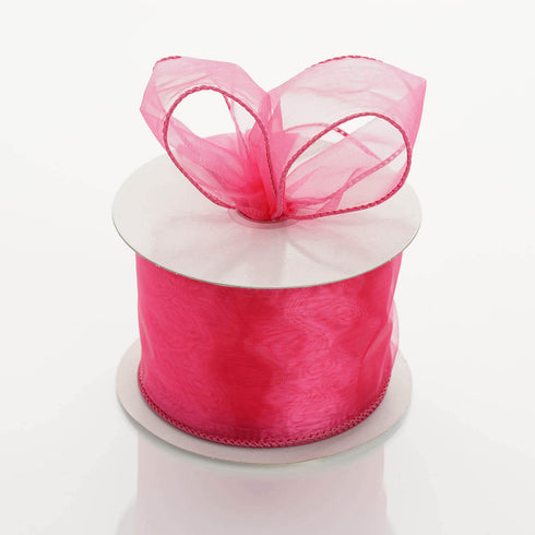 "10 Yards 2.5"" Fushia Organza Wired Edge Ribbon"