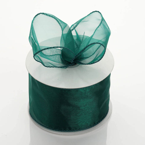"10 Yards 2.5"" Hunter Green Organza Wired Edge Ribbon"