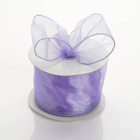 "10 Yards 2.5"" Lavender Wired Organza DIY Ribbon"