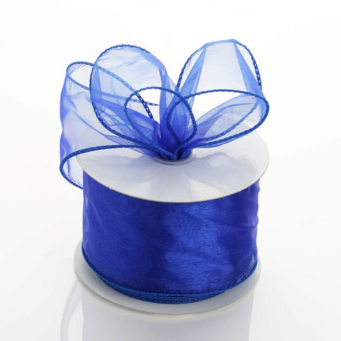 "10 Yards 2.5"" Royal Blue Organza Wired Edge Ribbon"