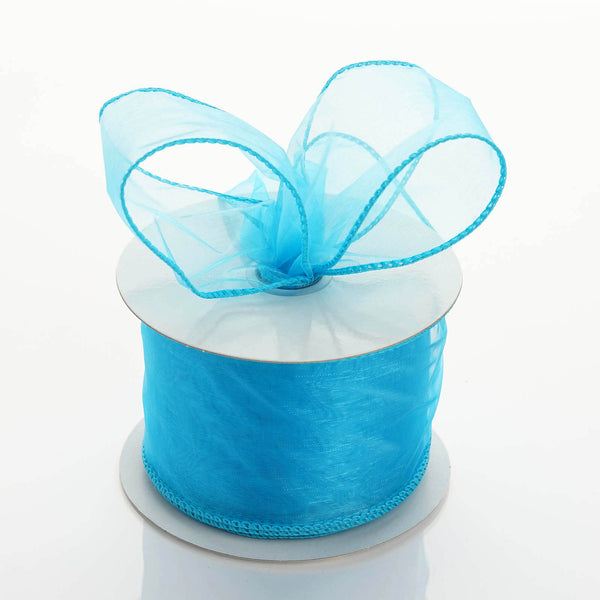 "10 Yards 2.5"" Turquoise Organza Wired Edge Ribbon"