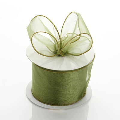 "10 Yards 2.5"" Moss Green Organza Wired Edge Ribbon"