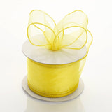"10 Yards 2.5"" Yellow Wired Organza DIY Ribbon"