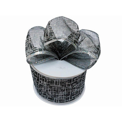 "10 Yards 2.5"" Black/Silver Shiny Edge Wired Ribbon DIY Craft Decoration"