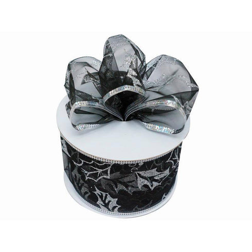 "10 Yards 2.5"" Black/Silver Leaf Design Shiny Edge Wired Ribbon DIY Craft Decoration"