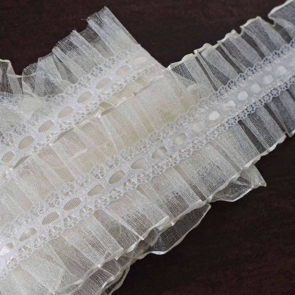 25 Yard Ruffle Lace Trim With Organza And Satin Fabric For