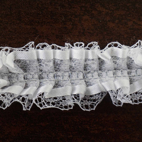 "STYLE ME PRETTY Ruffle Trim White 1.5"" x 25yard Lace & Organza & Satin-edged"