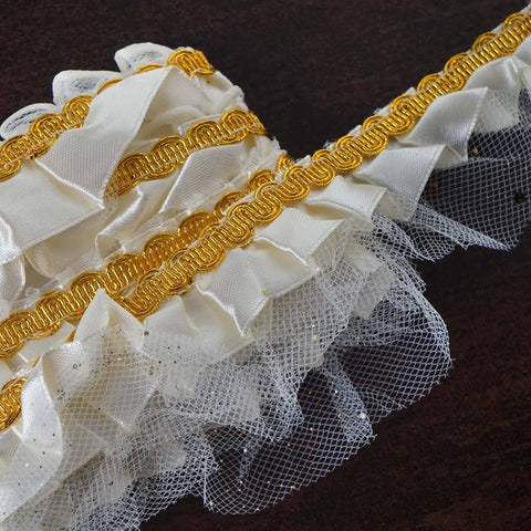 "STYLE ME PRETTY Ruffle Trim Ivory 2.25"" x 25yard Satin & Sparkles & Tulle"