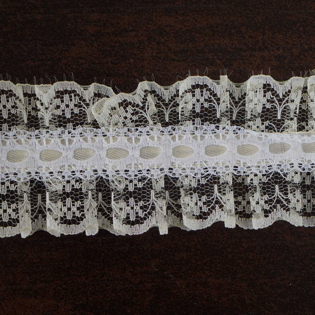 "STYLE ME PRETTY Ruffle Trim Ivory 1.5"" x 25yard Lovely Lace"