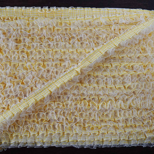 "STYLE ME PRETTY Ruffle Trim Ivory/Yellow 1"" x 25yard Gingham & Satin & Organza"