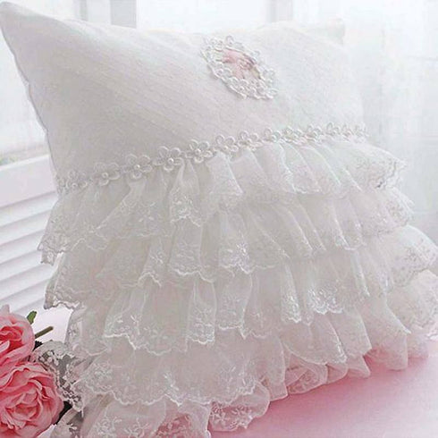 Ruffle Lace Trim With Tulle Fabric - IVORY - 25 Yard
