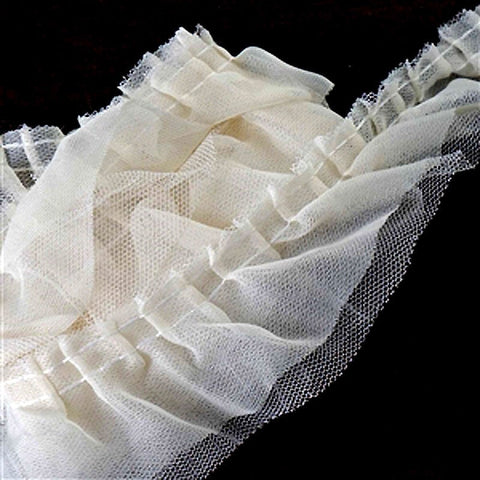 25 YARD Ruffle Lace Trim With Tulle Fabric For Dress Craft Sewing Trimming  - IVORY