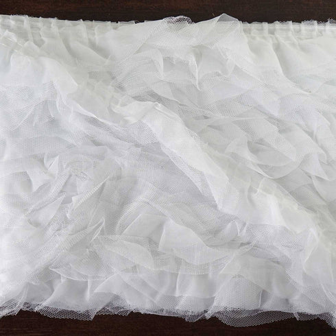 "STYLE ME PRETTY Ruffle Trim White 2"" x 25yard Tulle"