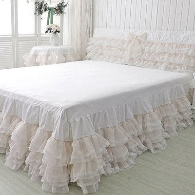Ruffle Lace Trim With Tulle Fabric - WHITE - 25 Yard