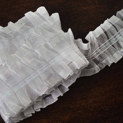 "STYLE ME PRETTY Ruffle Trim White 1.5"" x 25yard Satin-Edged & Organza & Glitter"