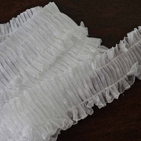 "STYLE ME PRETTY Ruffle Trim White 1.25"" x 25yard Organza W/ Satin Edge"