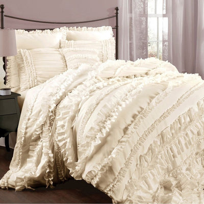 Ruffle Lace Trim With Chiffon And Classic Satin Fabric - IVORY - 25 Yard