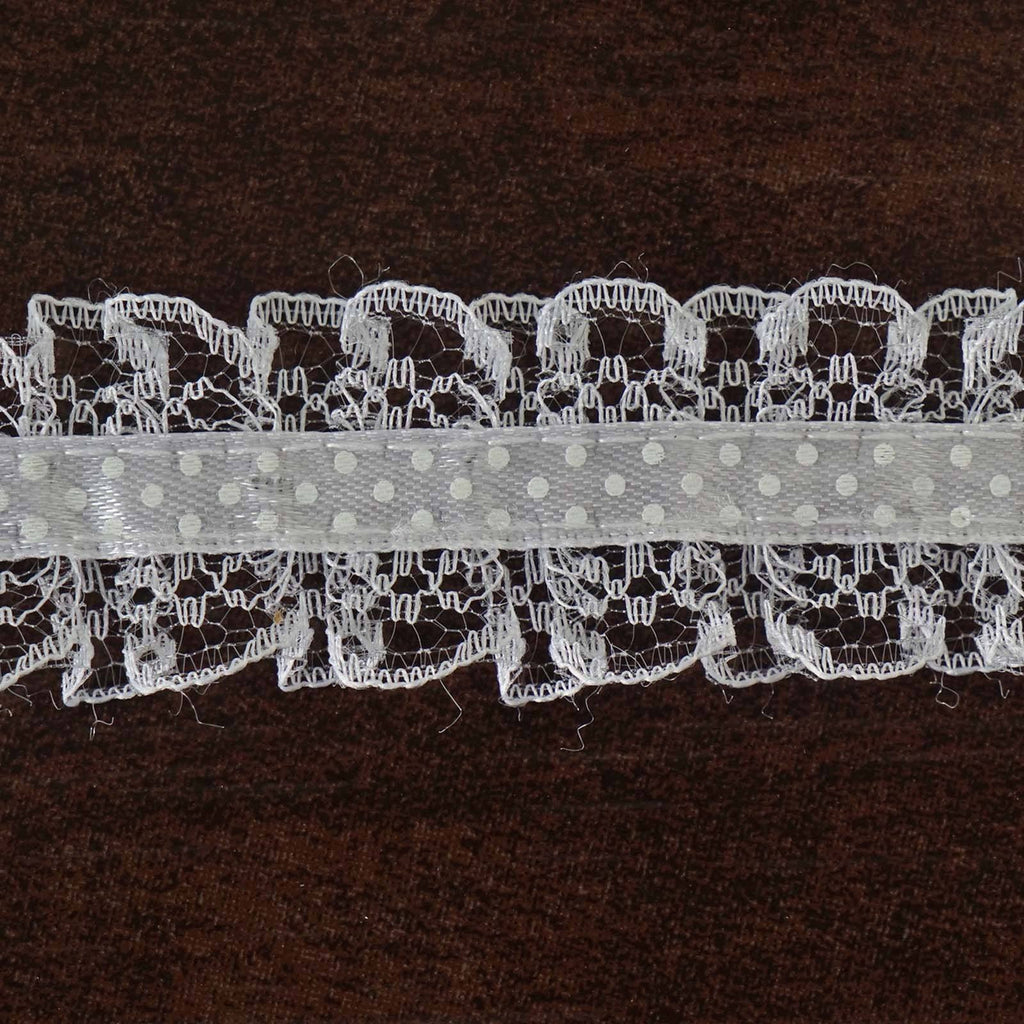 "STYLE ME PRETTY Ruffle Trim White 1 1/8"" x 25yard Lacey Satin"