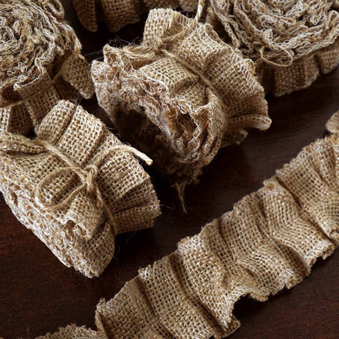 Ruffle Lace Trim With Burlap Fabric - Natural - 15 Yards