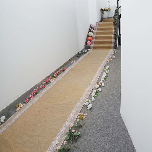30FT Natural Jute Burlap Aisle Runner with White Floral Lace Borders